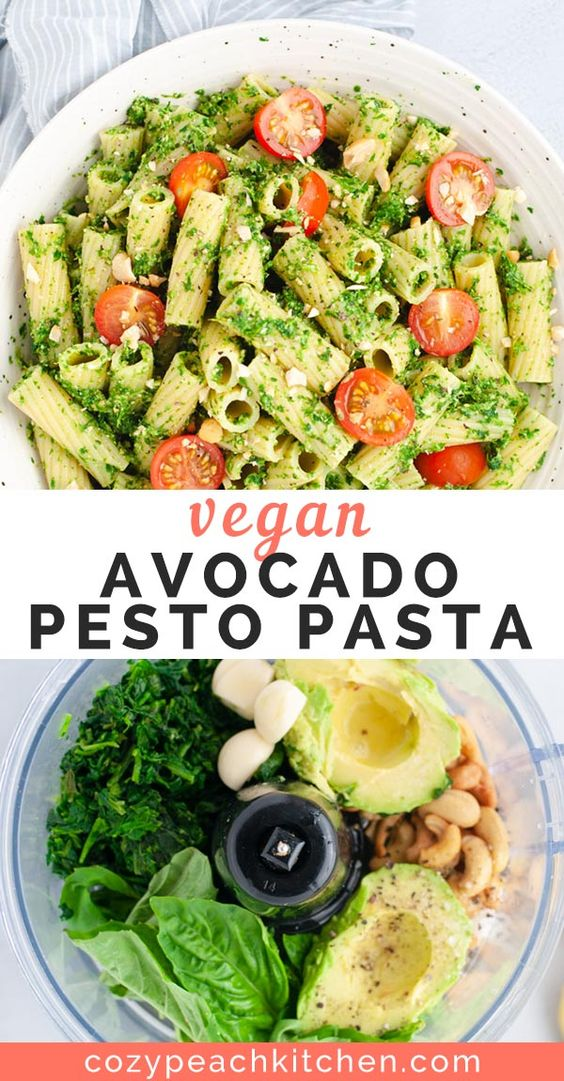 Vegan avocado pesto pasta is a filling twist on classic pesto. Made in less than 15 minutes, this quick recipe is packed with flavor and healthy ingredients.