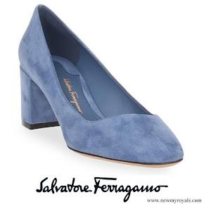 Queen Rania wore Salvatore Ferragamo Light Blue Suede Pumps