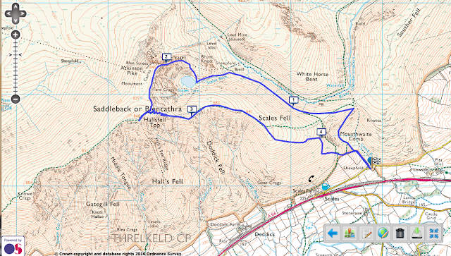 Map route Blencathra walk via Sharp Edge Pictures The Lake District Mountains UK Best View