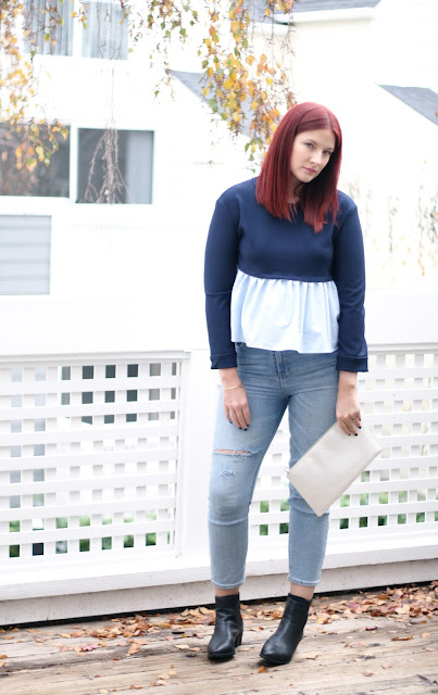 contrast navy top, ruffle trend, fashion, blogger