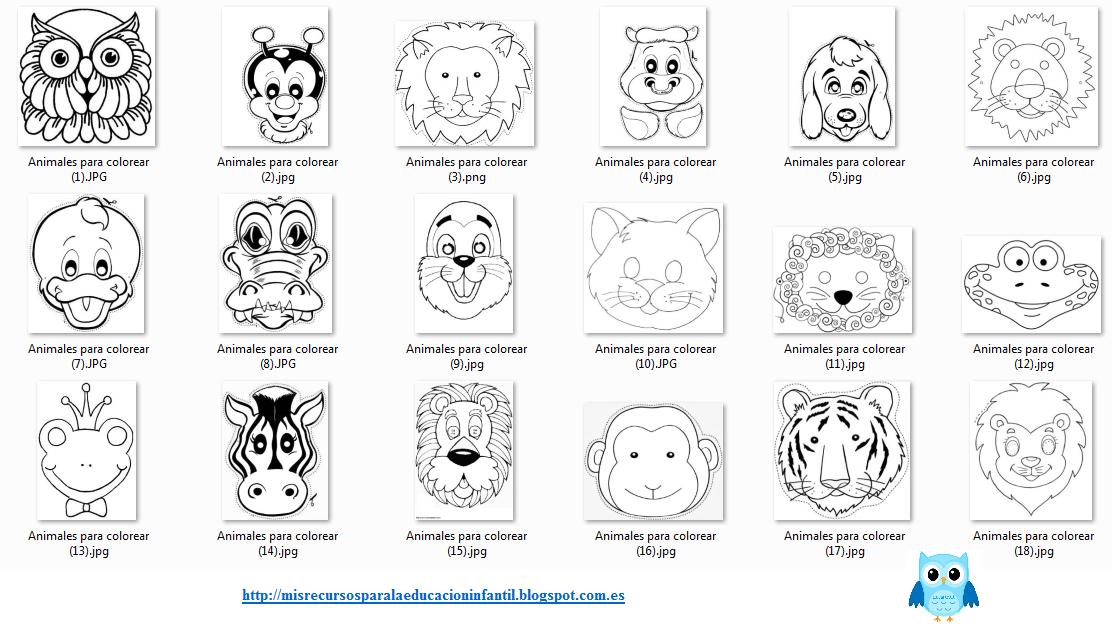 Play & Learn: Máscaras de animales para imprimir