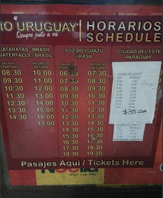Horarios buses cataratas Iguazú parte Brasileña - Río Uruguay