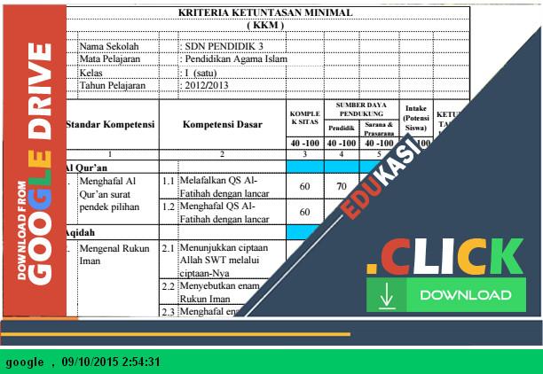 Aplikasi KKM PAI Kelas 1,2,3,4,5,6 SD dengan Microsoft Excel - Download