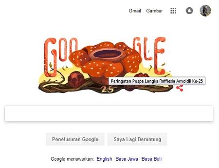 Rafflesia Arnoldii diperingati oleh Google Doodle