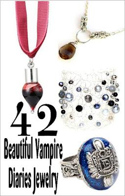 Wear a little bit of Vampire Love with this collection of earrings, necklaces, rings, and bracelets that were first shown on The Vampire Diaries TV show.  Check it out now and share with a Vampire Diaries fan today!