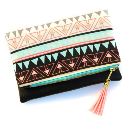 Boho style zippered fold over clutch