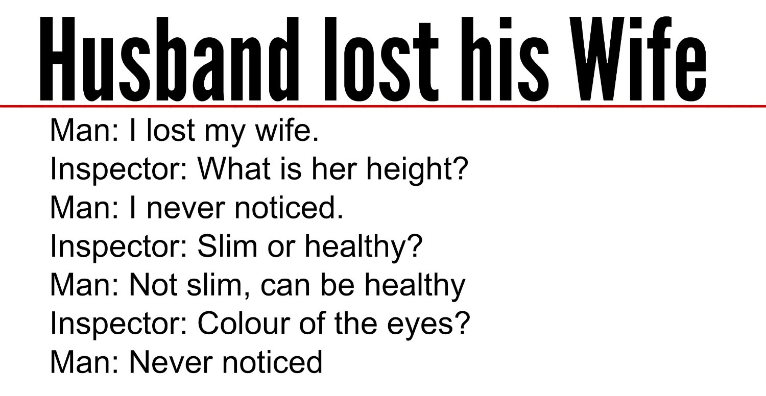 Husband Lost His Wife
