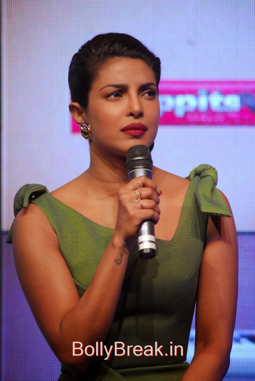 Priyanka Chopra Pictures, Priyanka Chopra Hot Pics in green dress from Hoppit Chocolate Launch