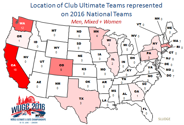 Sludge Output Map US Players On WUGC Teams - Washington dc location in the usa map