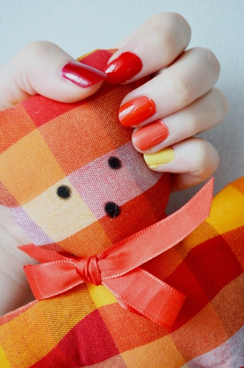 red, orange, yellow, manicure, nails, teddy bear, fire