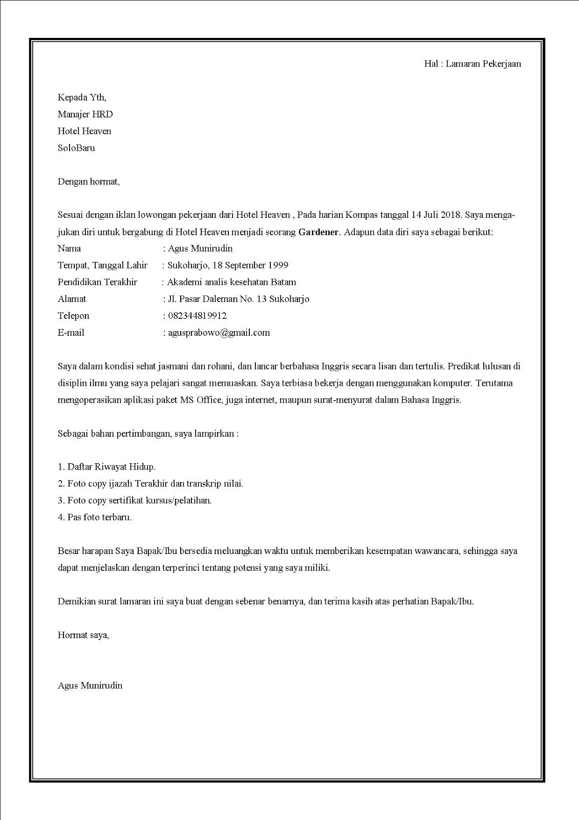 Contoh surat lamaran kerja di hotel sebagai gardener