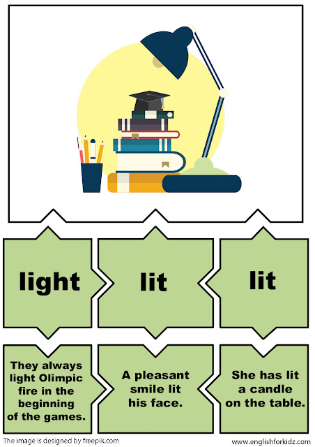 irregular verbs puzzles, verb light