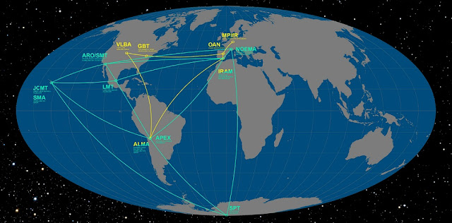 The image shows the locations of the radio telescopes joining the Event Horizon Telescope (green) and the Global mm-VLBI Array (yellow). Credit: ESO/O. Furtak
