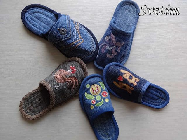 джинсовые тапочки своими руками