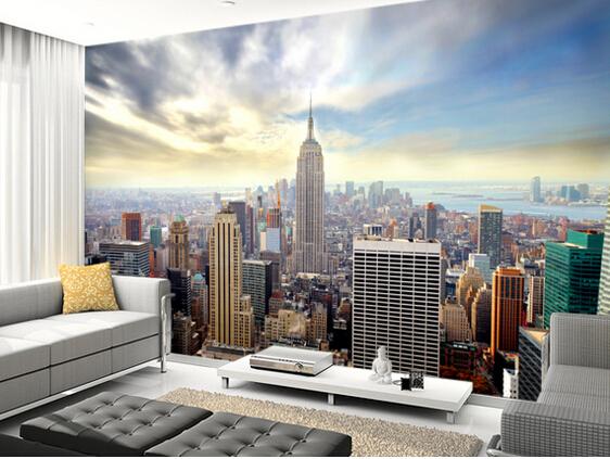 New York Tapetti New York Kuva Taustakuva New York Manhattanin horisonttiin pilvenpiirtäjiä katsella 3D valokuvatapetti olohuone