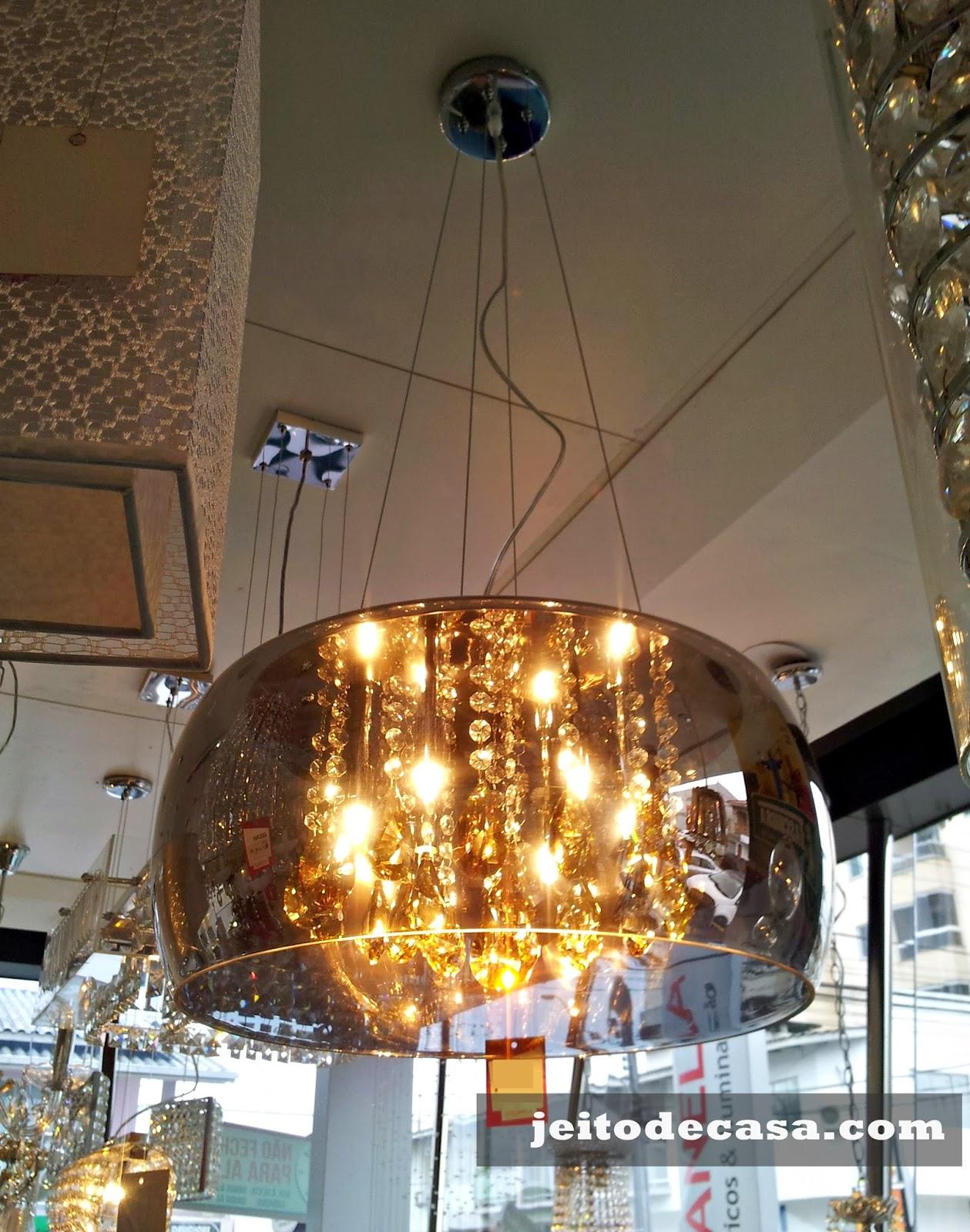 Para Sala De Jantar Pendente Vidro Espelhado Cromado Com Cristal