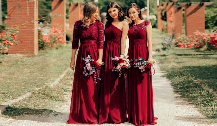 Burgundy bridesmaid dresses ever-pretty