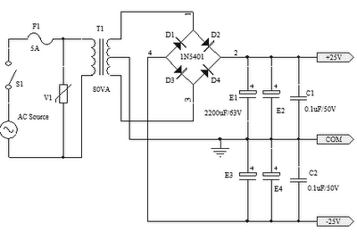 25V CAPACITOR BANK FOR OCL AMPLIFIER CIRCUIT DIAGRAM