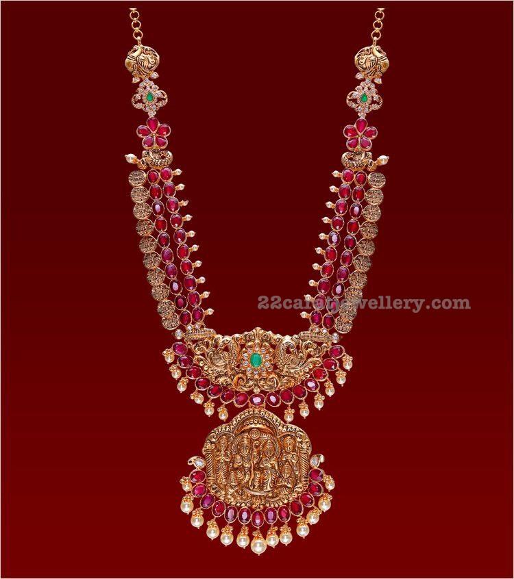 Ruby Long Set With Ramparivar Pendant Jewellery Designs