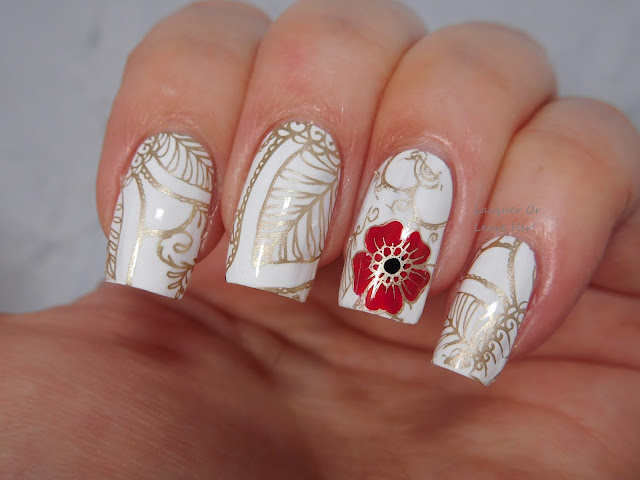 UberChic Beauty Mandala Love stamped with Messy Mansion Soft Gold, Carbon, and Sally Hansen Rapid Red