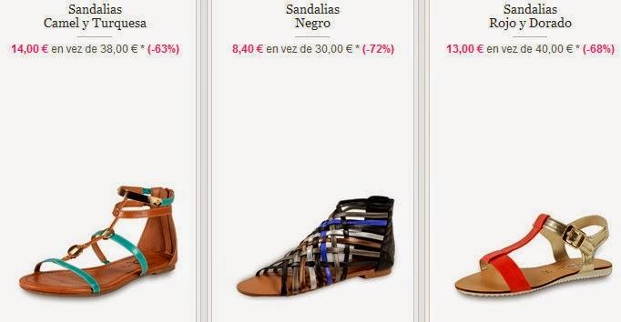 Tres modelos de sandalias planas y coloridas en oferta