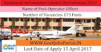 Hindustan Aeronautics Limited Recruitment 2017– 173 Operators