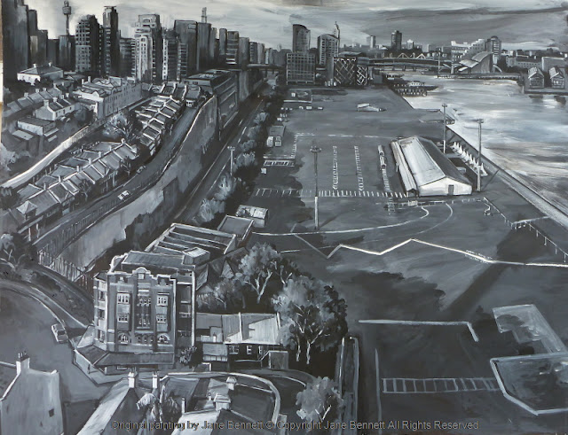 ink charcoal gouache drawing on paper of Barangaroo and Millers Point from the Harbour Control Tower industrial heritage artist Jane Bennett by