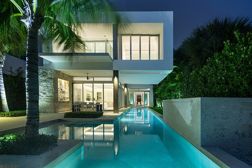 Modern home backyard at night