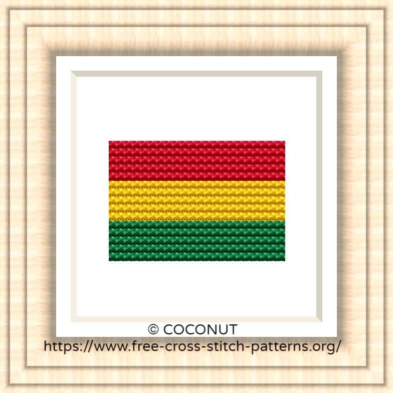 NATIONAL FLAG OF BOLIVIA CROSS STITCH CHART