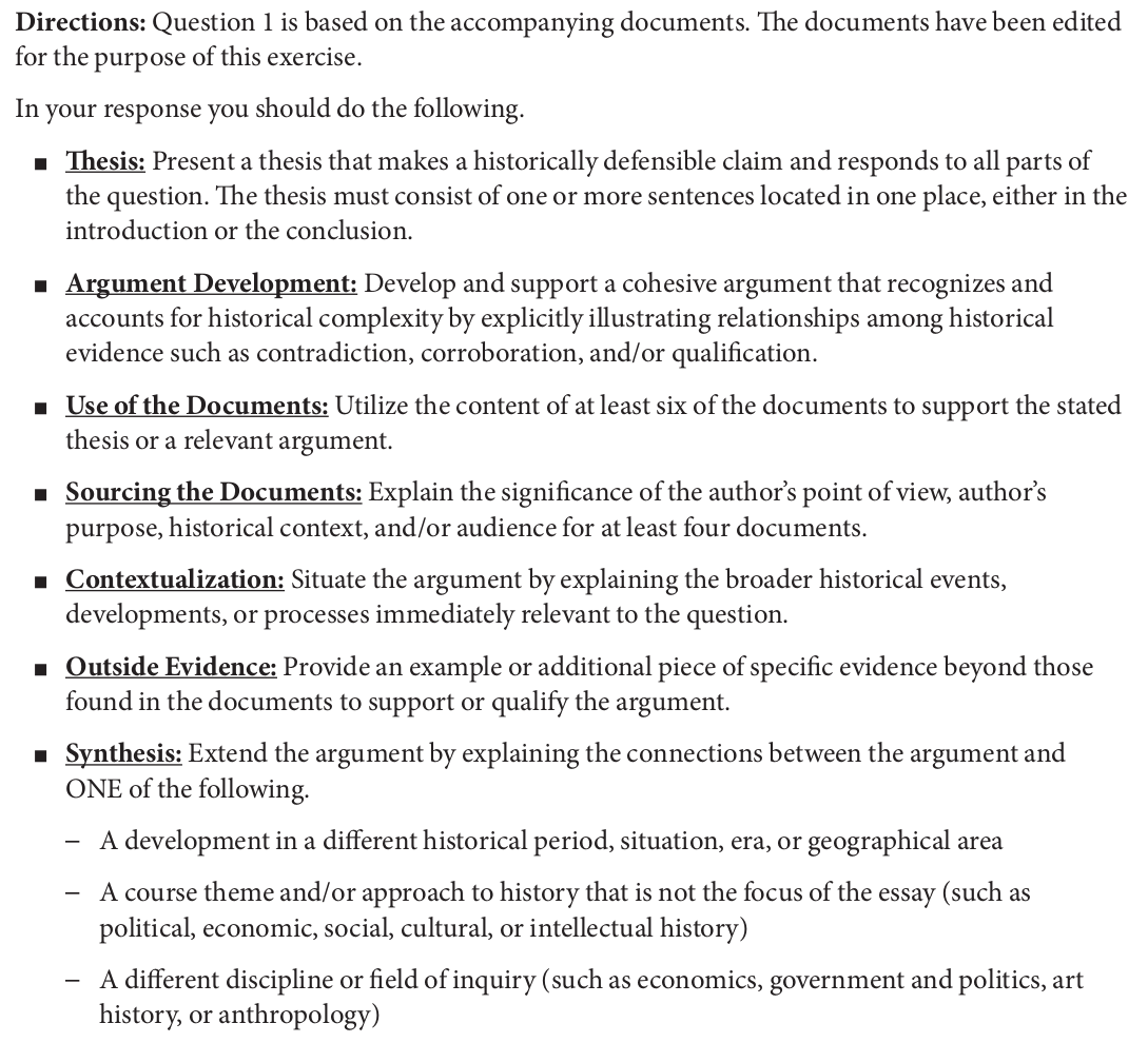 college board ap us history essay questions Ap us history writing the long essay  all questions require the use of hts and analysis of the evidence a long-essay answer will not receive full credit by simply.