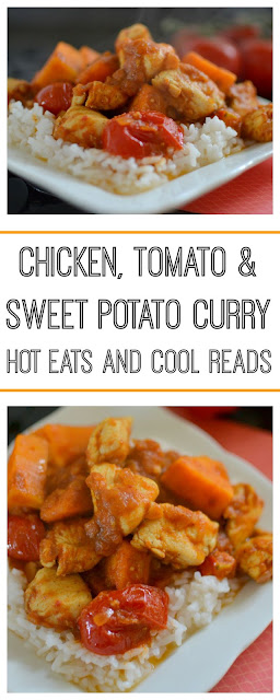 Packed full of flavor and ready in less than 30 minutes! Perfect for those busy nights! Chicken, Tomato and Sweet Potato Curry Recipe from Hot Eats and Cool Reads
