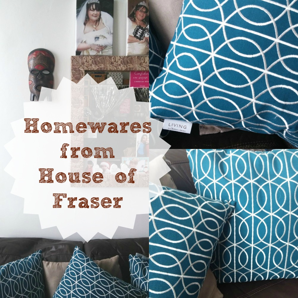 Homewares from House of Fraser teal embroidered feather fulled cushions from the Living by Christian Lemieux range