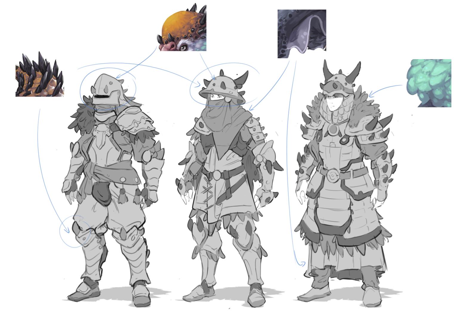 Armored Fantasy Creatures Art Sketches