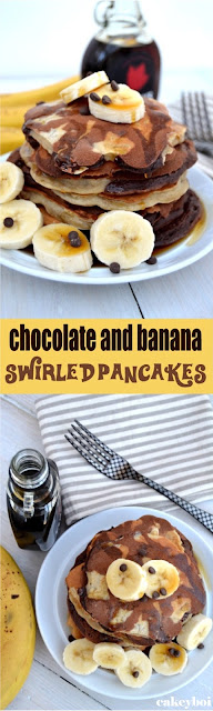 chocolate pancake batter and banana pancake batter swirled together