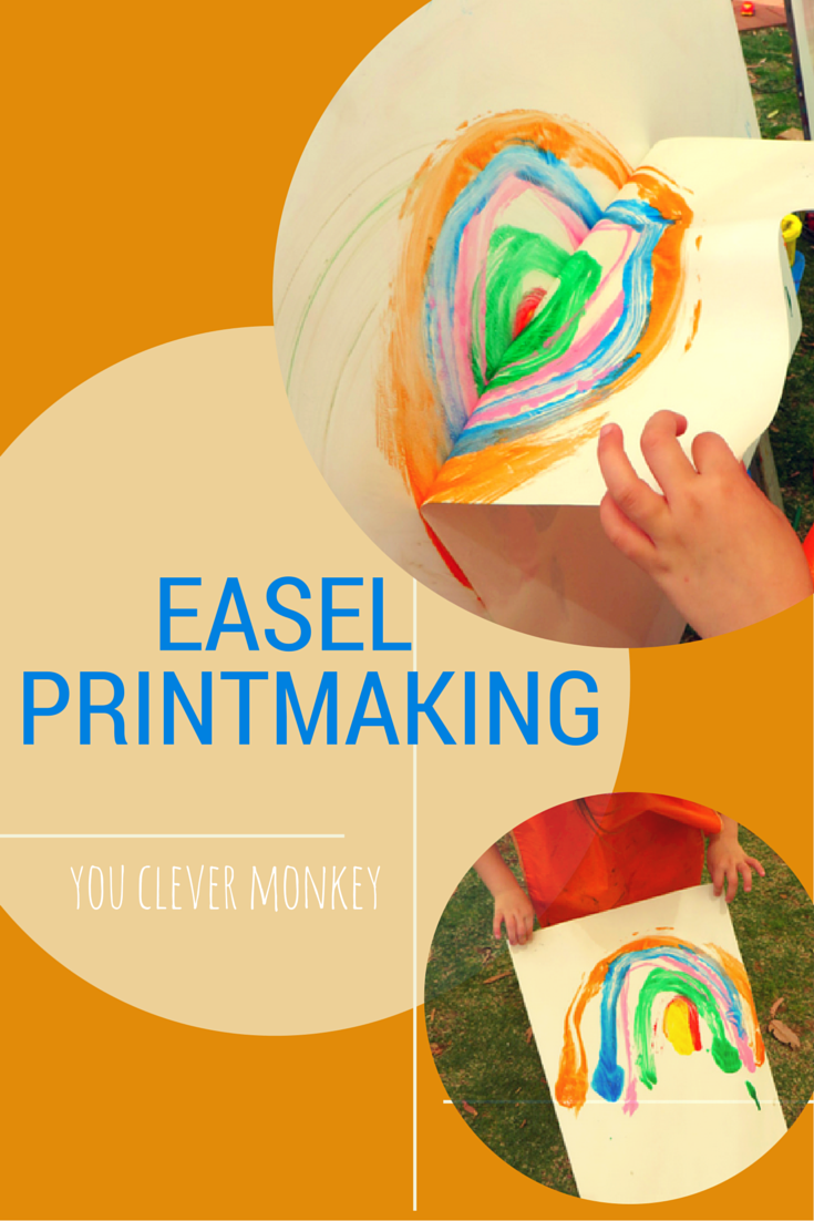 Easel printmaking: taking something ordinary and making it engaging! A simple invitation to paint on an easel and save your work by taking a print.