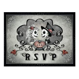 skeleton LOVE Matching Gray & Black RSVP PostCard