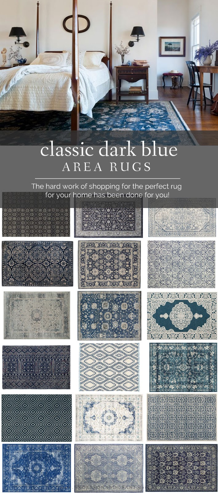 If you've been looking for a dark blue area rug for your home, search no further than this post filled with 20 classic choices available online. #decorating #choosingrugs #arearugs #blue