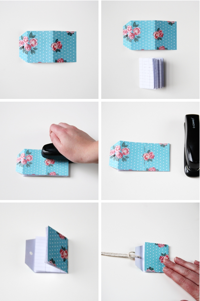 How to make mini notebooks using luggage tags