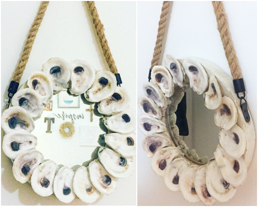 DIY Round Oyster Shell Rope Mirror Idea