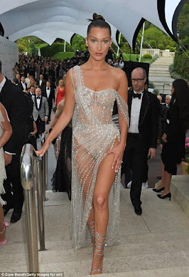 4 - Two wardrobe malfunctions in one night; Bella Hadid flashes her underwear and some skin in two dresses with crotch-high slit