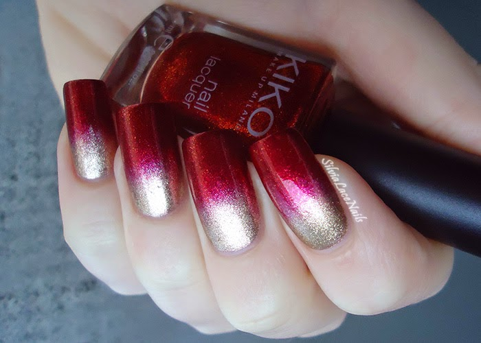 Favorito Silvia Lace Nails: Gold and red gradient CS28
