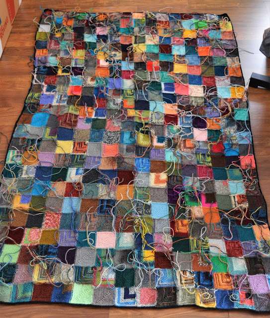 The back of a mitered square blanket.
