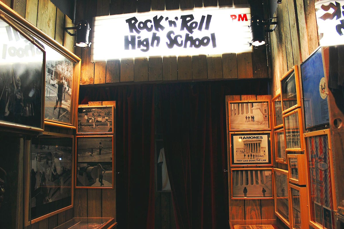 Rock 'n' Roll High School sign leading to the cinema room of the museum