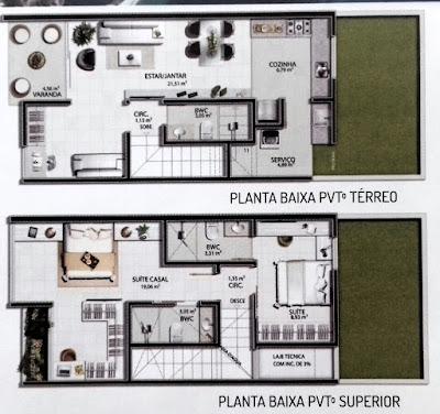 Planta baixa que mostra a planta baixa das casas de 96 m2 com primeiro andar e 3 (três) quartos.