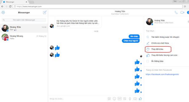 Thay đổi màu nền chat Facebook Messenger