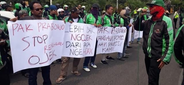 Komunitas Ojol Surabaya Marah Kepada Prabowo : 'Lebih Baik Ngojek daripada Nge-Hoax'