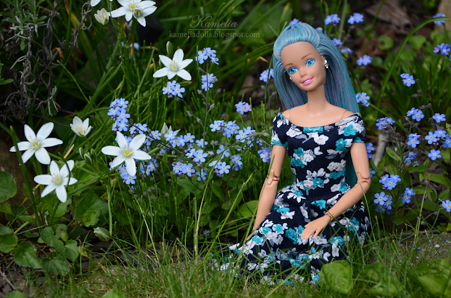 Floral dress for Barbie handmade