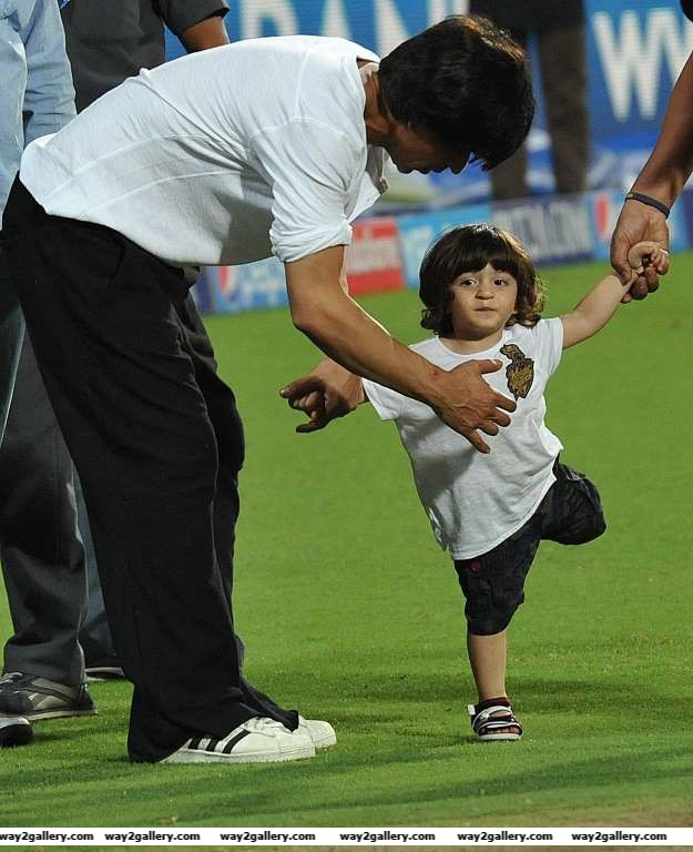 KKR coowner Shah Rukh Khan with his son AbRam at the Eden Gardens during an IPL  match between Kolkata Knight Riders and Mumbai Indians in Kolkata on April