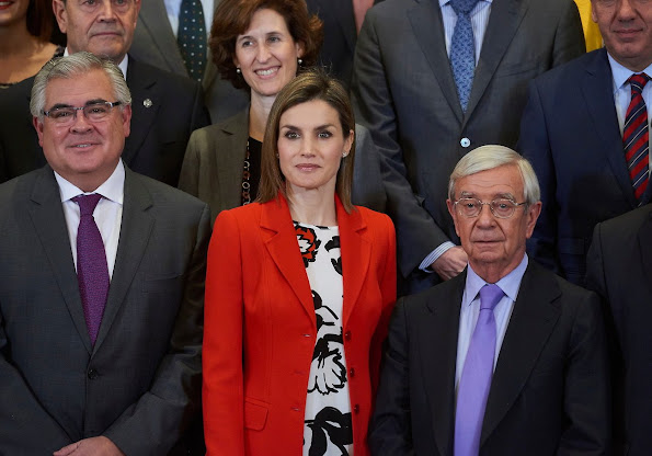 Queen Letizia of Spain attends an audience to a performance of the Board and the Scientific Committee of the Spanish Nutrition Foundation (FEN)