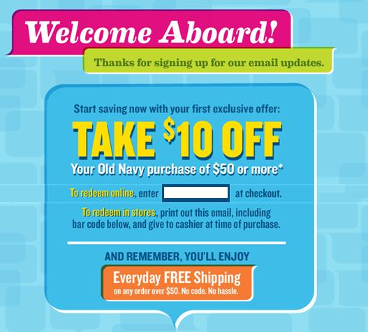 Old navy email coupon